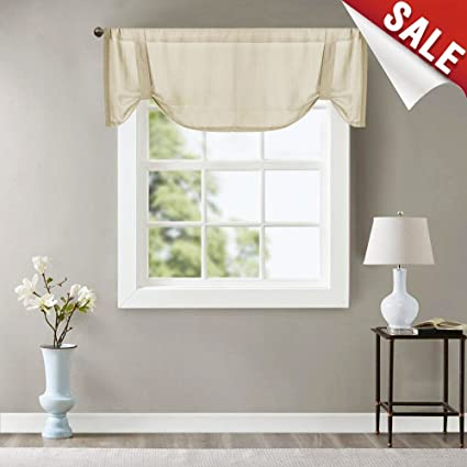 Amazon.com: Valance Semi Sheer Short Curtains Kitchen Casual ...