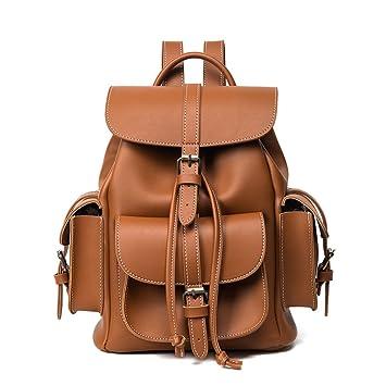 50722a5f169 Damen Rucksack Geldbörse Leder Vintage Kordelzug Casual Daypack Mädchen  Schulranzen (Hellbraun)