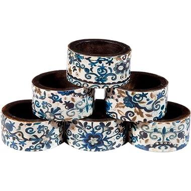 Yair Emanuel Set of 6 Wood Printed Napkin Rings (Blue)