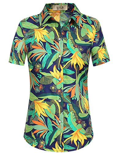 SSLR Women's Print Button Down Short Sleeve Tropical Hawaiian Shirt (Medium, Dark Blue)]()