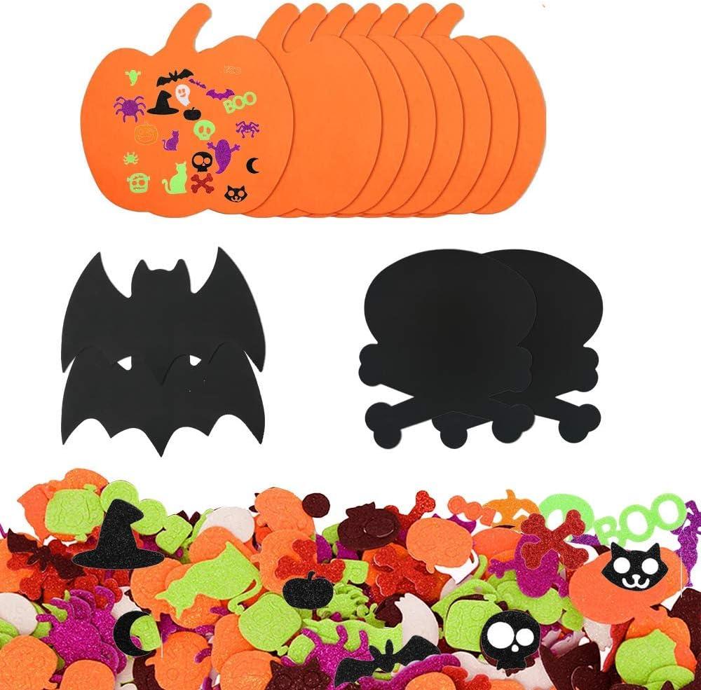 212pcs Glitter Halloween Foam Craft Stickers Kits DIY Pumpkin Craft Kits for Kids Craft Projects Foam Halloween Pumpkin Assorted Self Adhesive Halloween Decoration for Skull,bat
