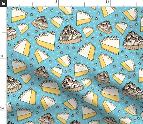 Spoonflower Lemon Pie Fabric - Blue and Yellow Dessert Sweets Food Novelty Lemon Meringue Pie Dessert Baking Sweet Food by Bettyturbo Printed on Petal Signature Cotton Fabric by The Yard