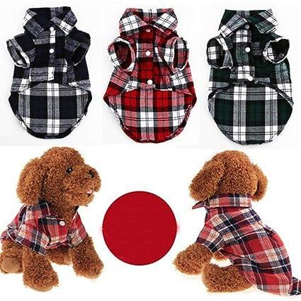 Dog Shirts Fashion Plaid Pattern Turn Down Collar Short Sleeve Shirt Dog Shirt Pet Clothes Pet Products