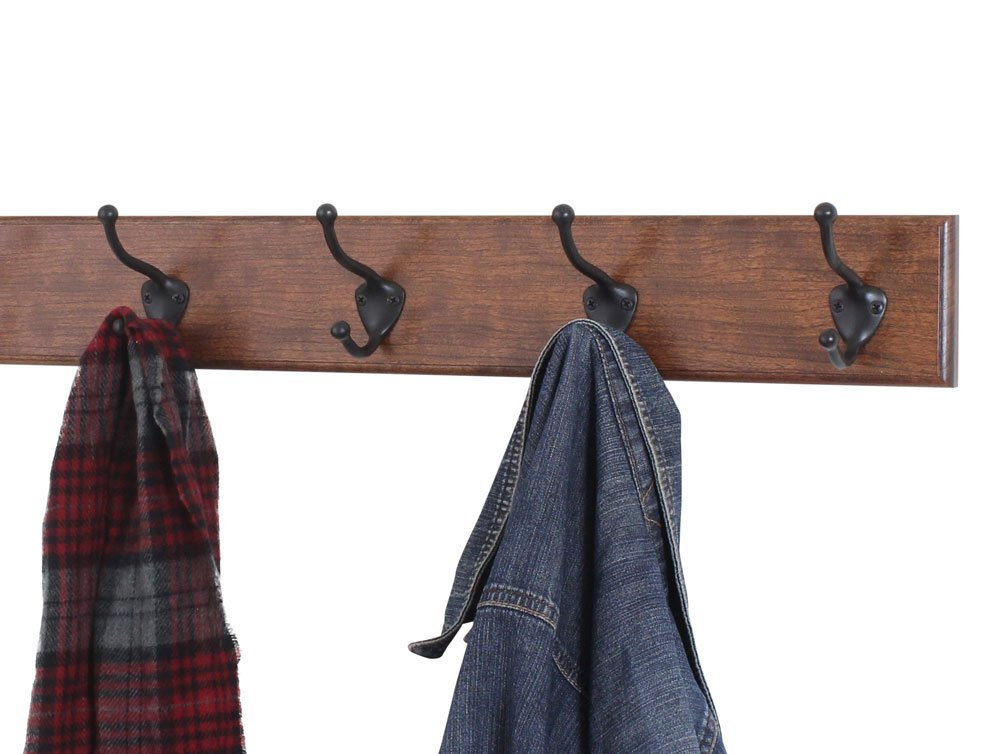 Solid Cherry Wall Mounted Coat Rack With Satin Nickel Wall Coat Fascinating Nickel Coat Rack