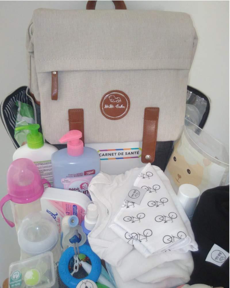 ✨ BEBE CALIN Bolso Cambiador Impermeable Elegante Mochila Maternal de Viaje Para Mam/á y Pap/á Multifuncional y de Gran Capacidad Gris y Crema