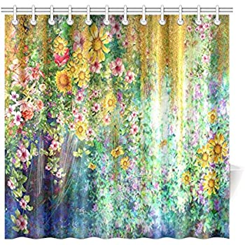 spring sunflower home decor mystic floral flower polyester fabric shower curtain bathroom sets with