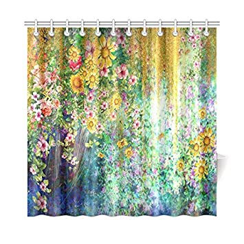 InterestPrint Spring Sunflower Home Decor Mystic Floral Flower Polyester Fabric Shower Curtain Bathroom Sets With