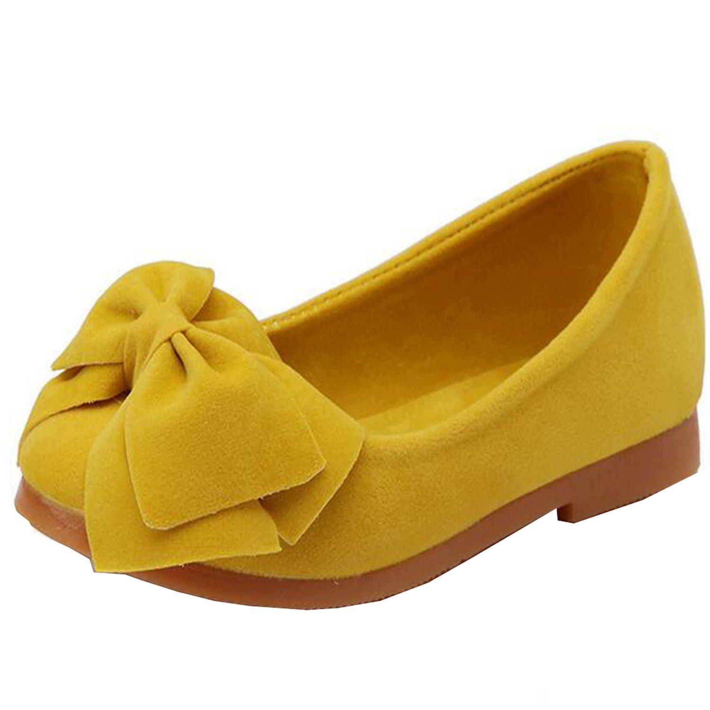 Lovirs Girls Yellow Casual Slip On Bowtie Mary Jane Flats Ballerina Flat Toddler Shoes 12 M US