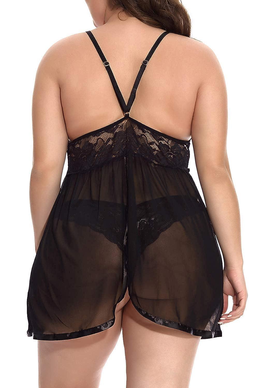Mangodiu Womens Plus Size Lingerie Lace Babydoll Sleepwear V Neck Split Cup See Through Chemise Set