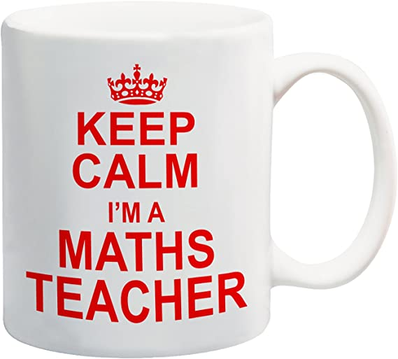 Taza con texto en inglés «Keep Calm Im a Maths Teacher» en color rojo: Amazon.es: Hogar