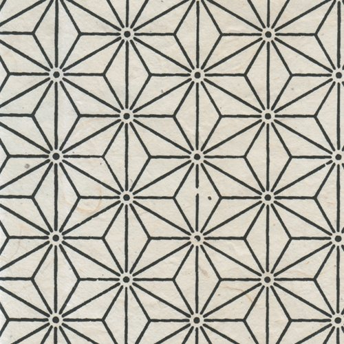 Lama Li Black & White Nepalese Paper Collection - Lama Li Nepalese Paper- Black Kaleidoscope on Natural 20x30 Sheet -
