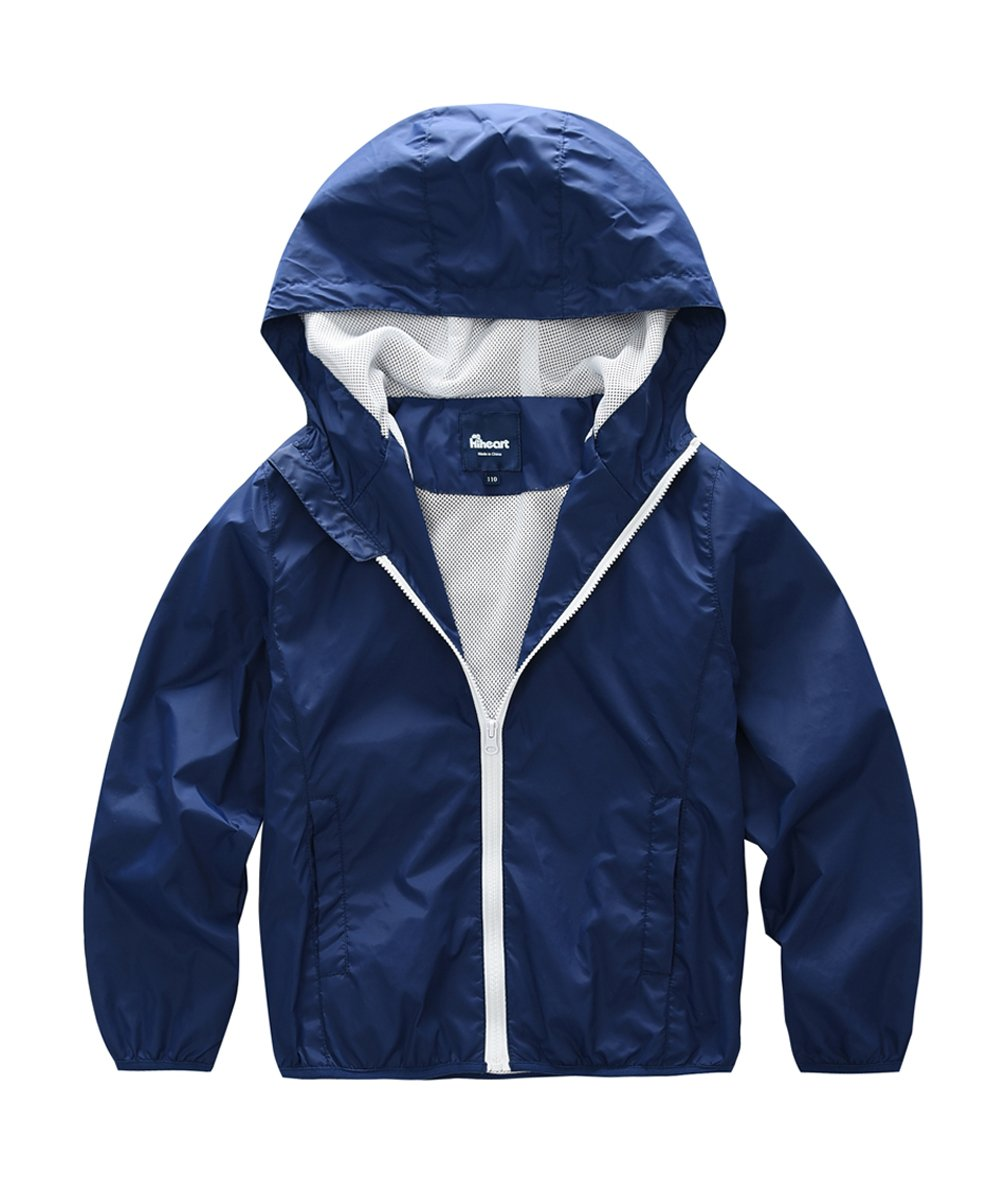 Hiheart Boys Summer Lightweight Hooded Water Resistant Jacket Navy 9/10