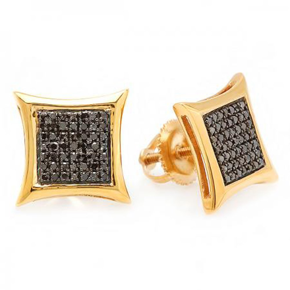 0.25 Carat (ctw) 14k Yellow Gold Black Round Diamond Micro Pave Setting Kite Shape Stud Earrings 1/4 CT by DazzlingRock Collection