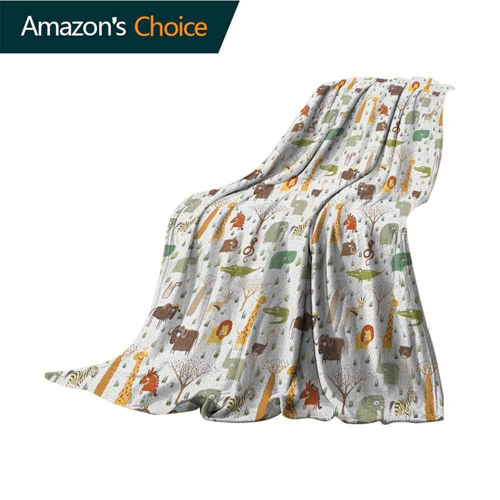 Cartoon Animal Yoga Blanket,Grunge African Savannah Fauna Childhood Theme Safari Funny Wildlife Pattern Microfiber All Season Blanket for Bed or Couch Multicolor,35'' Wx60 L Multicolor