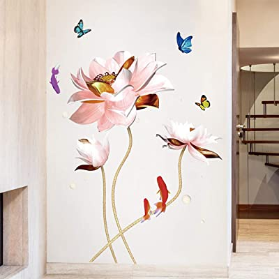 NA ACHOOSE Wall Decal Pink Lotus Flowers Plant Butterflies Goldfishs Wall Sticker Peel and Stick Removable Wall Decals Stickers Wallpaper Home Décor for Living Room Girls Room Bedroom (H): Kitchen & Dining