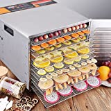 Costzon Food Dehydrator 10 Drying Trays Food Preserver Fruit Dehydro Commercial Stainless Steel