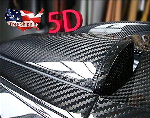 """12x60/"""" 5D Gloss Carbon Fiber Sticker Vinyl Film Car Wrap Sticker Styling Decals"""