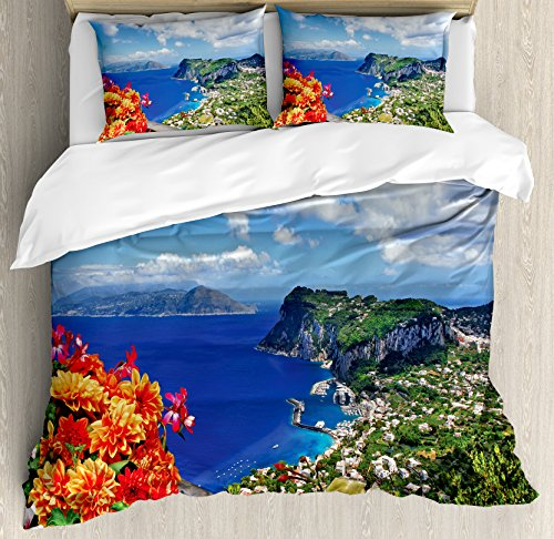 Ambesonne Island Duvet Cover Set King Size, Scenic Capri Island, Italy Mountain Houses Flowers View from Balcony Landmark, Decorative 3 Piece Bedding Set with 2 Pillow Shams, Blue Green (Landmark Kitchen Island)
