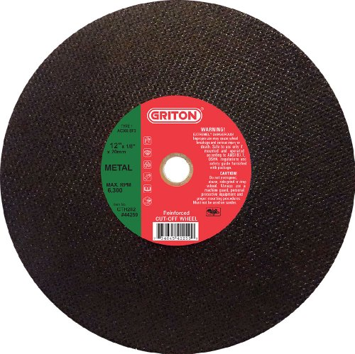 Griton CTH282 Arbor Industrial Cut Off Wheel for Ductile Iron Used on High Speed Saws, 20 mm Hole Diameter, 12