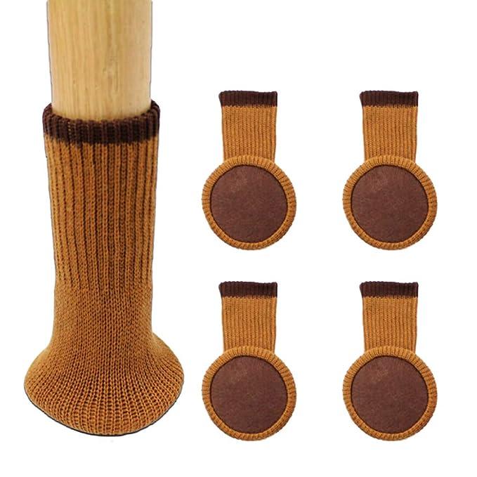 MERYSAN - Calcetines para Patas de Silla con Almohadillas de Fieltro, Protectores de Patas de Madera Gruesa, antiarañazos, Antideslizantes, Color marrón: ...
