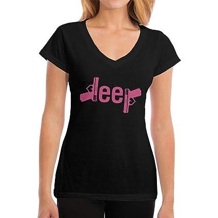 b3a15d7789ebb Amazon.com : I Love Jeep and Guns Jeep Women's V Neck T Shirt Summer Fashion  Basic Tee Tops : Sports & Outdoors