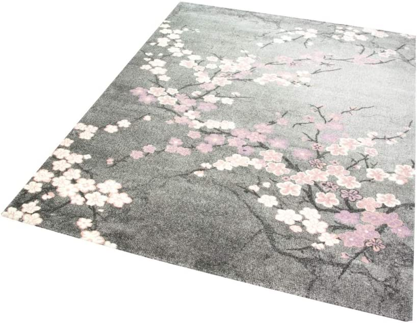 Designer Teppich Moderner Teppich Wohnzimmer Teppich Blumenmuster Grau Lila Pink Weiss Rosa Gr/ö/ße 60x110 cm