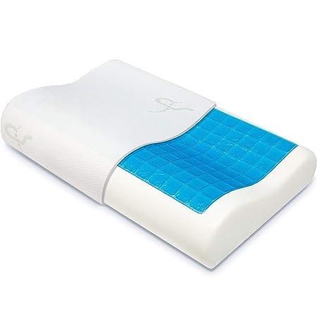 Supportiback® Almohada ortopédica terapéutica con contornos de espuma de memoria, gel disipador del calor, funda extraíble hipoalergénica lavable, ...