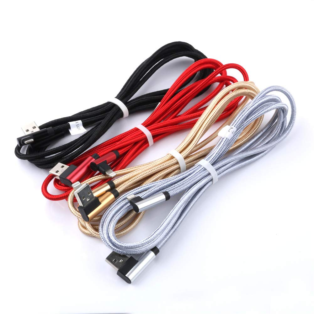 Interesting® Lightning-USB-Kabel 2A Schnellladegerät mit doppeltem L-Shape / 90 ° -Leitung, kompatibel mit iPhone iOS (1 m / 1 Pack/Farbe zufällig) kompatibel mit iPhone iOS (1 m / 1 Pack/Farbe zufällig)
