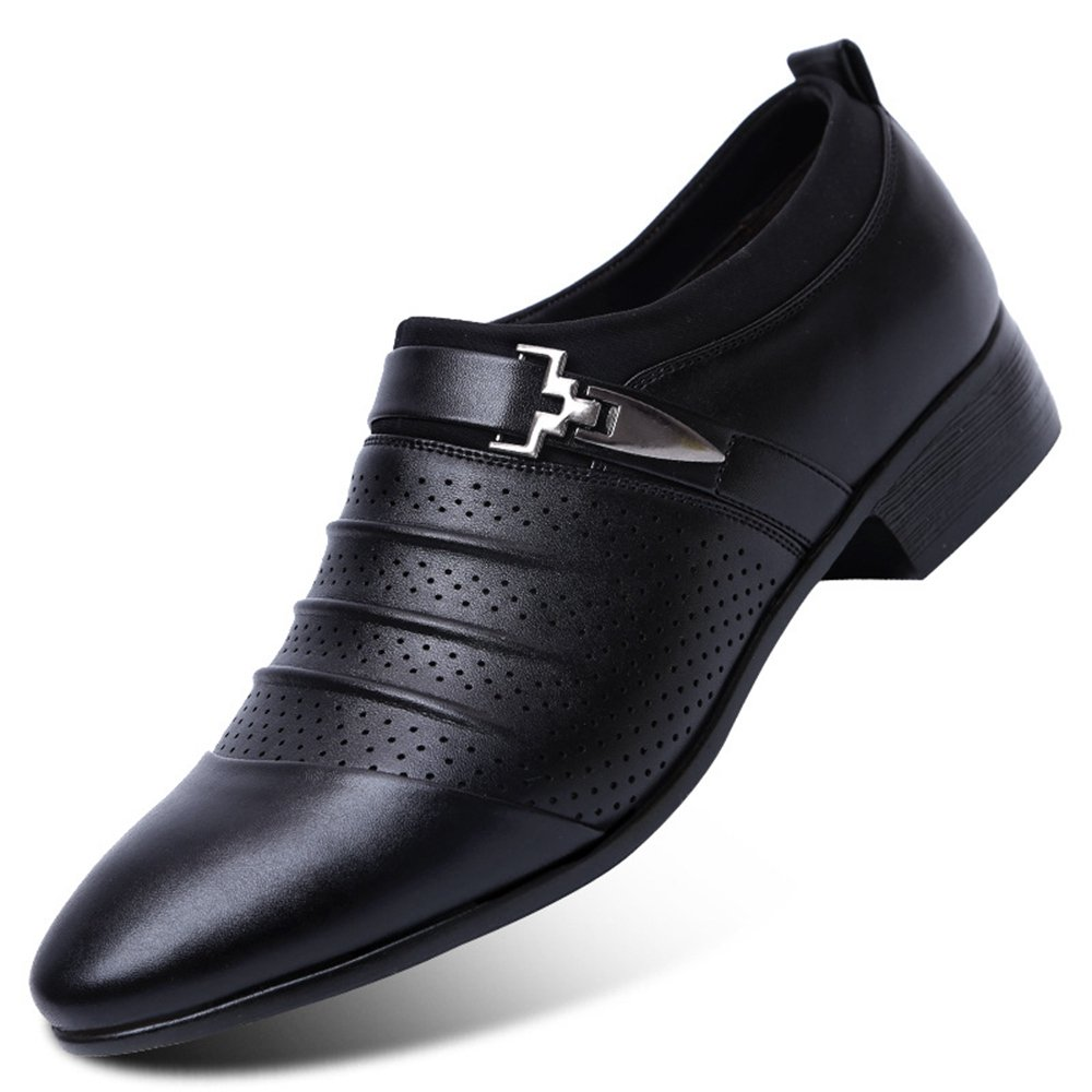 Blivener Men's Dress Shoes Formal Oxford Wedding Slip on Shoes Black US 9.5
