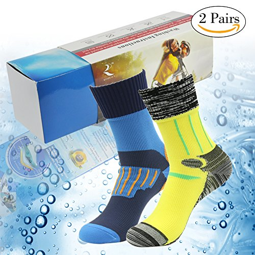 (RANDY SUN Waterproof Socks, Men's Convenient And Easy To Wear Outdoors Socks Blue&Yellow Two Pairs Size M)