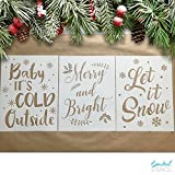 Essential Stencil Large CHRISTMAS STENCILS (3 pack) Baby It's Cold Outside, Let It Snow, Merry & Bright | IDEAL for Painting Wood Signs