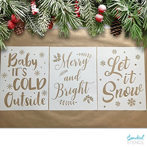 Large CHRISTMAS STENCILS (3 pack) Baby It's Cold Outside, Let It Snow, Merry & Bright | IDEAL for Painting Wood - Snow For Stencils Christmas