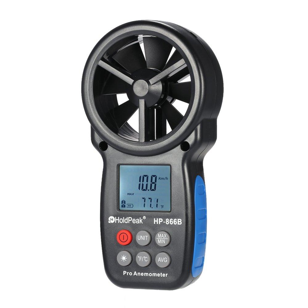holdpeak hp-866b Mini LCD digital Anemó metro velocidad del viento Aire velocidad temperatura medició n con retroiluminació n