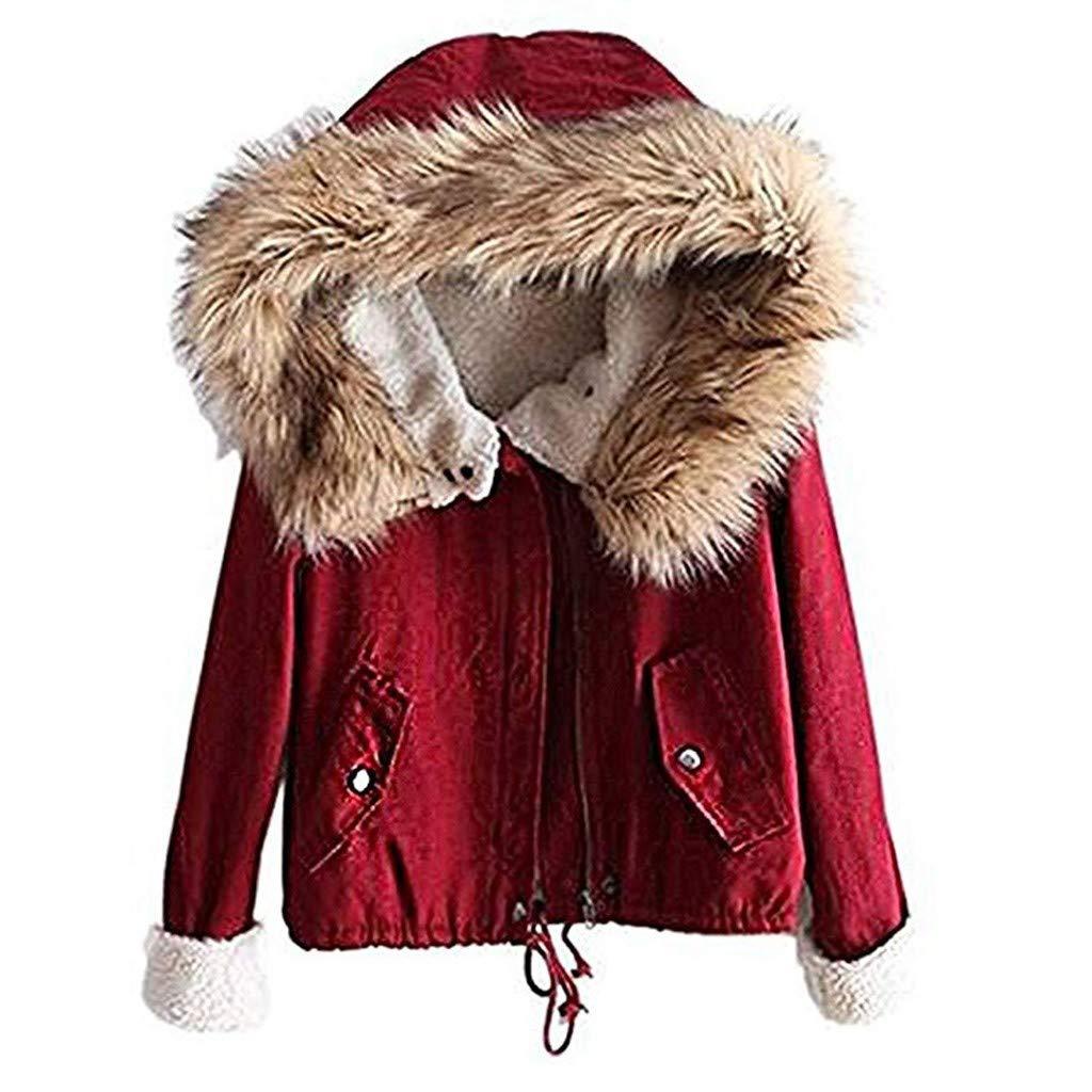 Yanvan Women Winter Coat Fleece Long Sleeve Cotton Hooded Short Warm Zip Pocket Jacket Coat by Yanvan