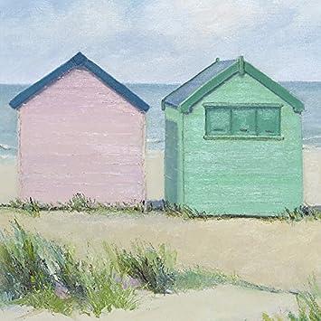 Jane Hewlett casetas de Playa Lienzo Impresiones, poliéster, 40 x 40 cm: Amazon.es: Hogar
