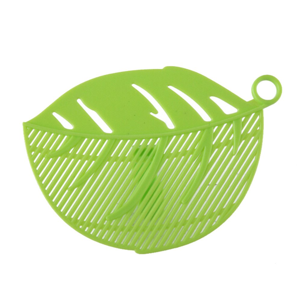 Connia 1PC Durable Clean Leaf Shape Rice Wash Sieve Cleaning Gadget Kitchen Clips Tool (green)