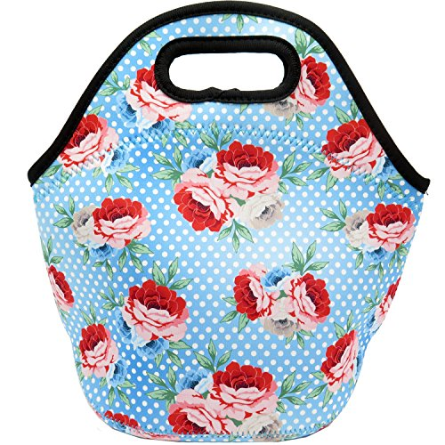 Neoprene Lunch Bag Insulated Flowers