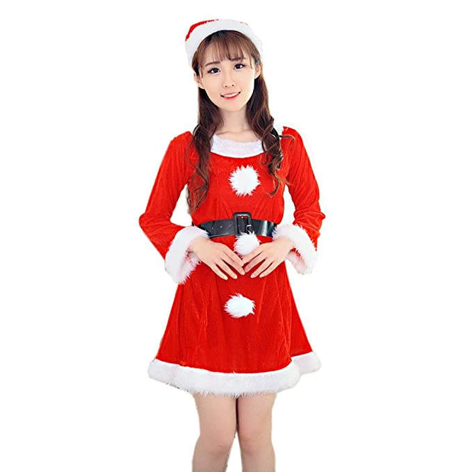 2c52affdfbad WensLTD Women Sexy Santa Christmas Costume Fancy Dress Xmas Office Party  Outfit (Red)