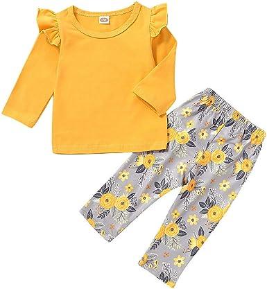 Traje de Niños Ropa de Bebe ASHOP Body Bebe Pijama de Algodón con Camisetas de Manga Larga Pantalones Florales: Amazon.es: Ropa y accesorios