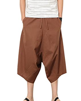 Pantalones Anchos Hombre Pantalones Cortos Bermudas Pantalones Hippies  Transpirable Pantalones De Lino  Amazon.es  Deportes y aire libre 3035273a0682