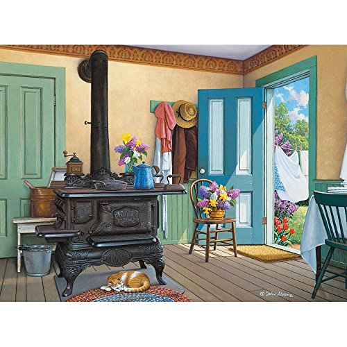 Bits and Pieces - 300 Large Piece Jigsaw Puzzle for Adults - Fresh Air, Summer Catnap - by Artist John Sloane - 300 pc Jigsaw - Oversized Puzzle Pieces