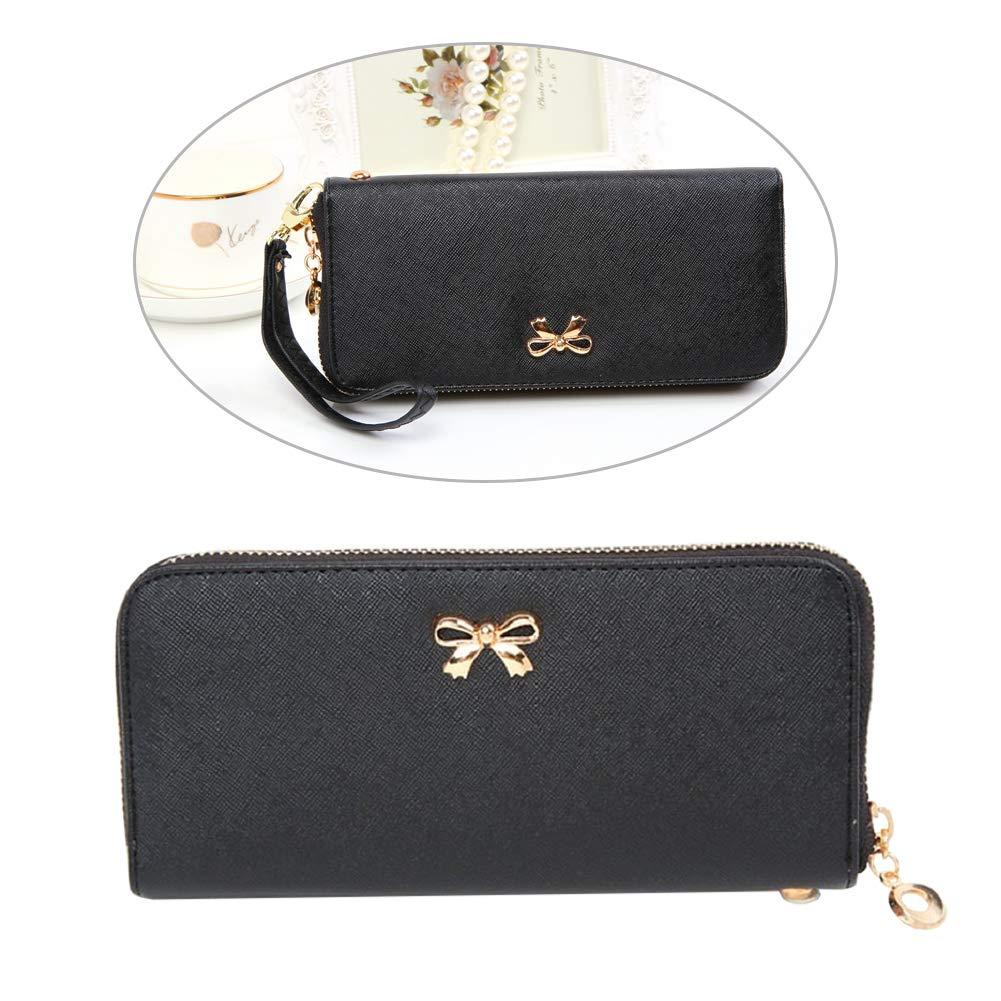 Donne borsa in pelle frizione Esempio design Bowknot Portafoglio frizione portafogli in pelle titolare della carta raccoglitore lungo delle signore di modo Borsetta nera