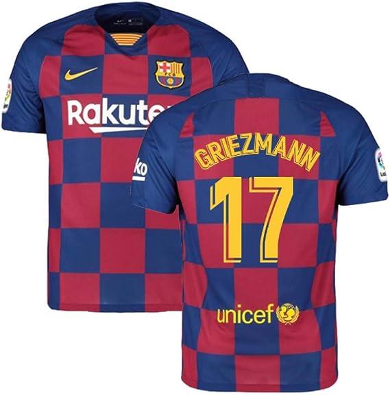 UKSoccershop 2019-2020 Barcelona Home Nike - Camiseta de fútbol (Antoine Griezmann 17), Hombre, Rojo, M/Contorno Pecho: 96-104 cm: Amazon.es: Deportes y aire libre