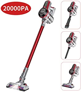 20000pa Cordless Vacuum Cleaner, Muzili Upgraded Stick Vacuum Sweeper, 4 in 1 Versatile, 3lbs Lightweight, 5 Stages Filter, 70dB Quiet Working, LED Rotate Motorized Brush for Hardwood Floors, Carpets
