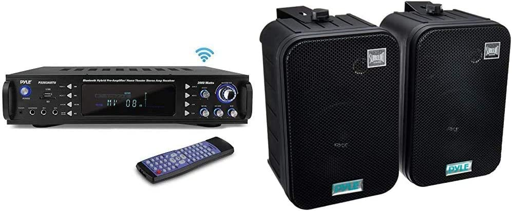 Pyle 4-Channel Bluetooth Home Power Amplifier - 2000 Watt Audio Stereo Receiver w/Speaker Selector & Dual Waterproof Outdoor Speaker System - 6.5 Inch - Pyle PDWR50B (Black)