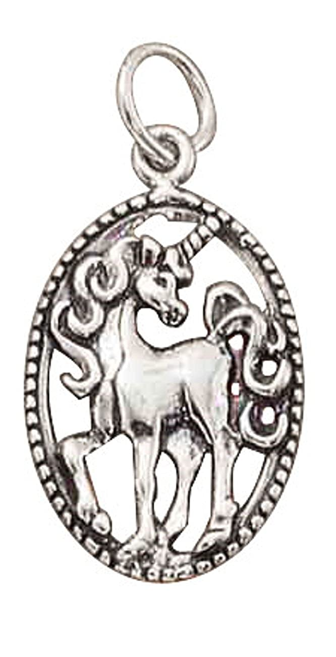 Sterling Silver Womens 1mm Box Chain Open Oval Unicorn Pendant Necklace