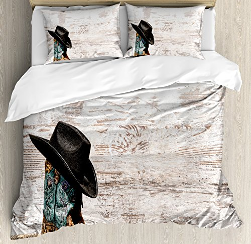 Ambesonne Western Duvet Cover Set Queen Size, Traditional Rodeo Cowboy Hat and Cowgirl Boots Retro Grunge Background Art Photo, Decorative 3 Piece Bedding Set with 2 Pillow Shams, Brown Black