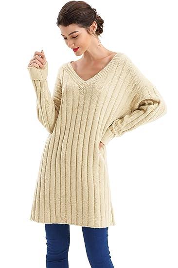 a0e361918d BodiLove Women s Slouchy V Neck Oversize Ribbed Knit Tunic Sweater Apricot  S(DM18-933
