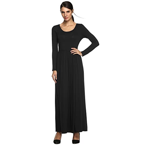 Meaneor Women Fashion Casual Long Sleeve O-Neck Solid Maxi Dress