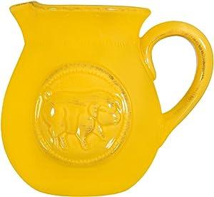 Home Essentials & Beyond Beautiful Decorative Serving Ceramic Medallion Pig Yellow Small .75 Quart Water Juice Milk Pitcher Beverage Dispenser Jar Jug Cooler Vase (Small, Yellow-Medallion Pig)